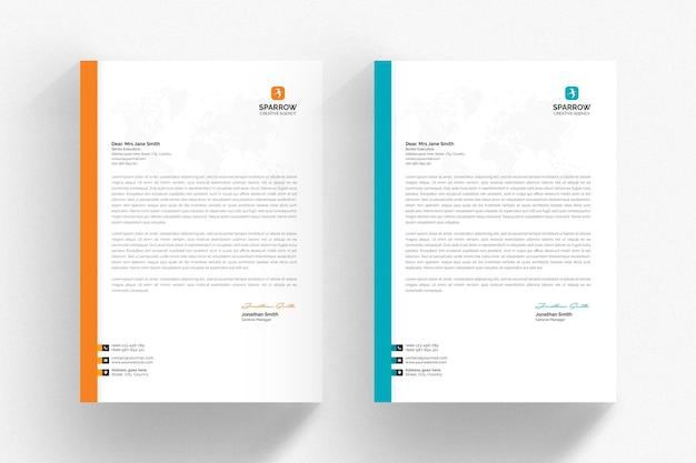 Modelo de papel timbrado branco com detalhes aqua e laranja Psd Premium