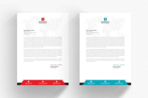 Modelo de papel timbrado - branco com detalhes aqua e vermelhos Psd Premium