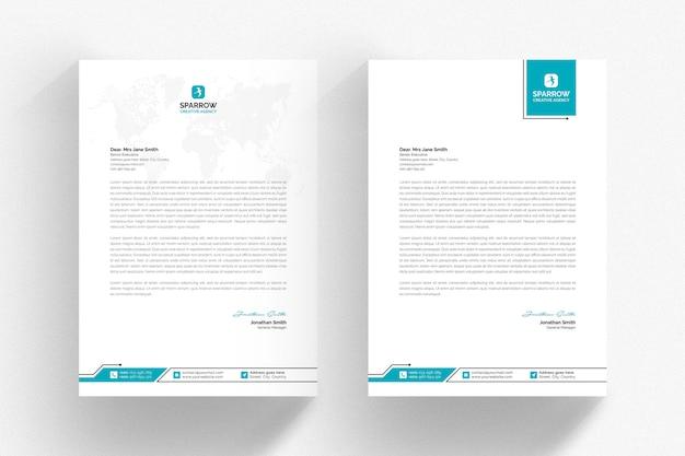 Modelo de papel timbrado - branco com detalhes aqua Psd Premium