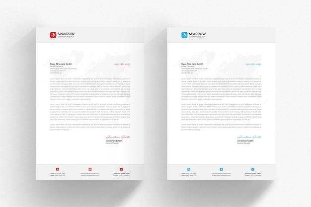 Modelo de papel timbrado - branco com detalhes azuis e vermelhos Psd Premium