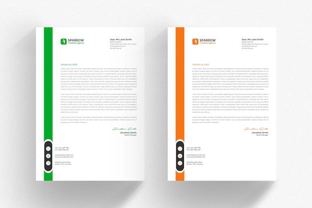 Modelo de papel timbrado - branco com detalhes em verdes e laranja Psd Premium