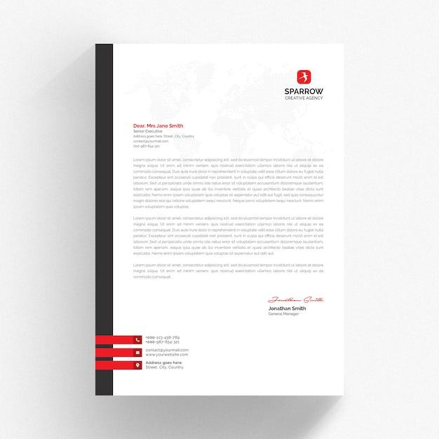 Modelo de papel timbrado branco com detalhes em vermelho e cinza Psd Premium