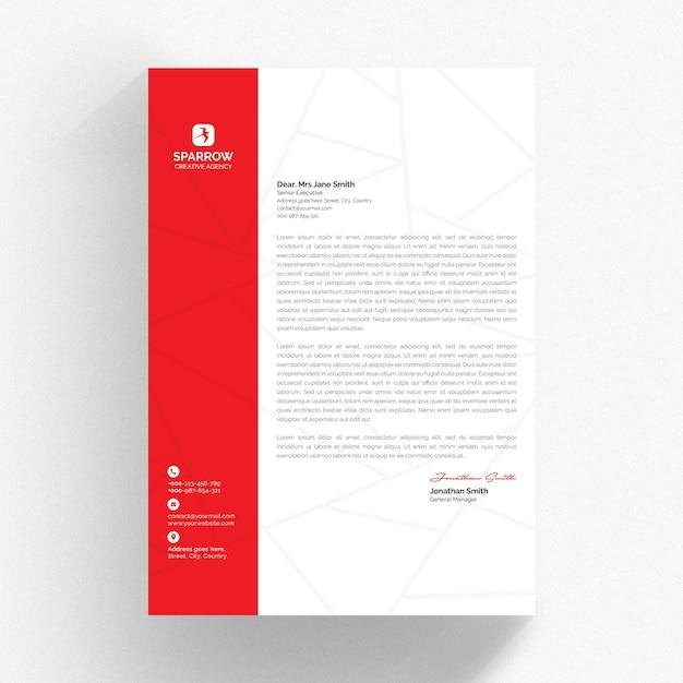 Modelo de papel timbrado branco com detalhes em vermelho Psd Premium