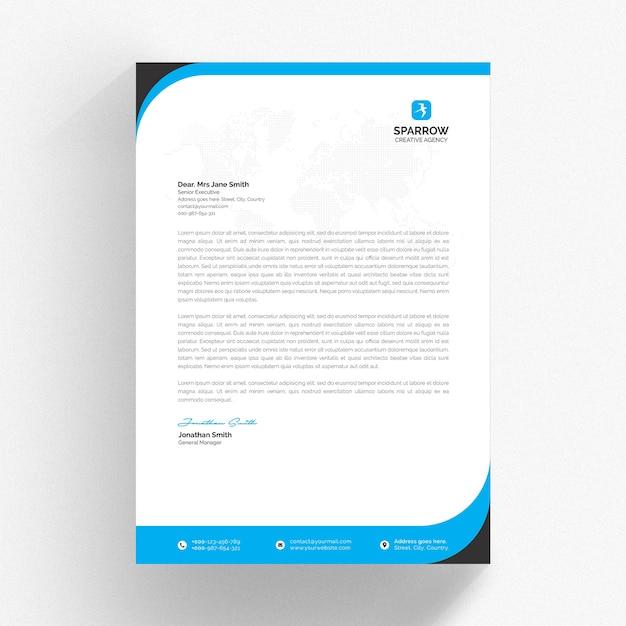 Modelo de papel timbrado branco com detalhes ondulados em azul Psd Premium