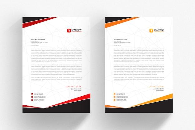 Modelo de papel timbrado - branco com detalhes vermelhos e laranja Psd Premium