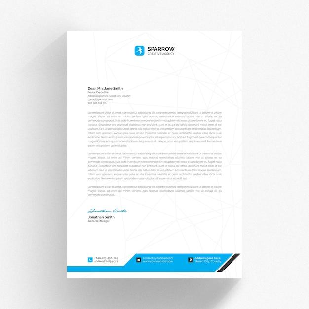 Modelo de papel timbrado branco com formas azuis Psd Premium