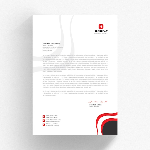 Modelo de papel timbrado branco com formas vermelhas Psd Premium