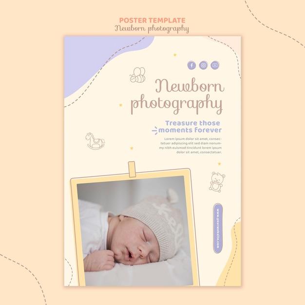 Modelo de papelaria de pôster de bebê dormindo Psd grátis
