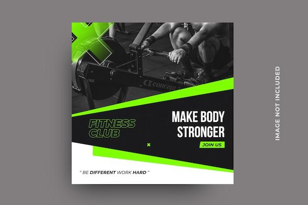Modelo de pós-banner de mídia social de fitness Psd Premium