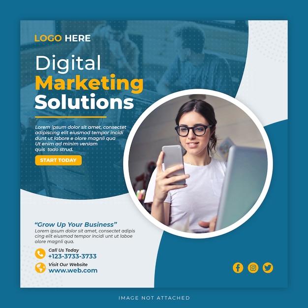 Modelo de pós-banner de mídia social de marketing digital Psd Premium