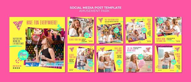 Modelo de post - mídia social de conceito de parque de diversões Psd grátis