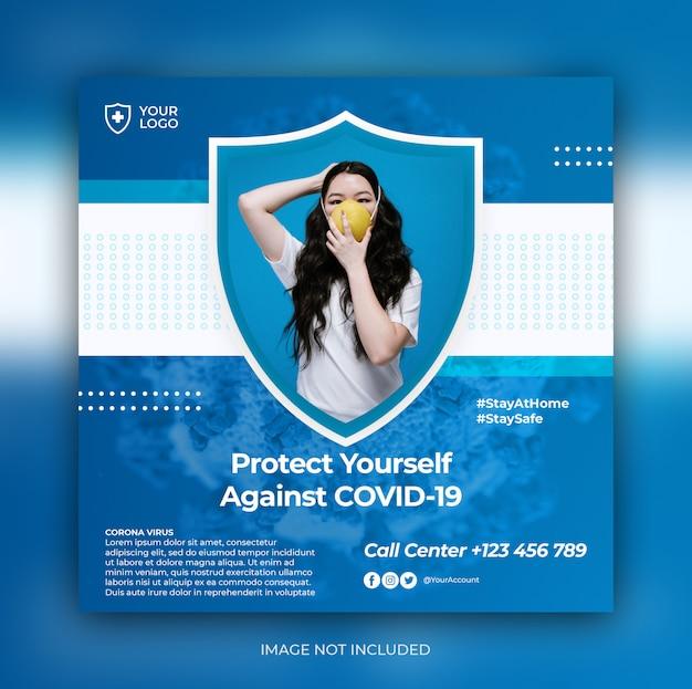 Modelo de post quadrado - mídia social de aviso de coronavírus Psd Premium