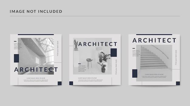 Modelo de postagem de arquiteto em mídia social Psd Premium