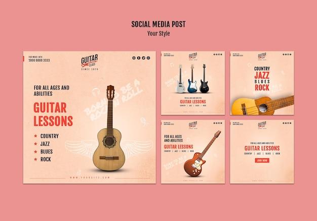 Modelo de postagem de aulas de guitarra nas redes sociais Psd grátis