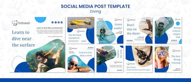 Modelo de postagem de conceito de mergulho em mídia social Psd Premium