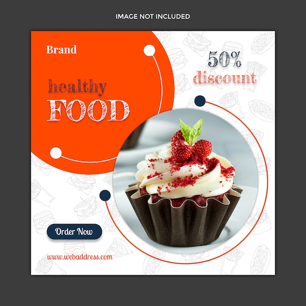 Modelo de postagem de instagram de mídia social de alimentos Psd Premium