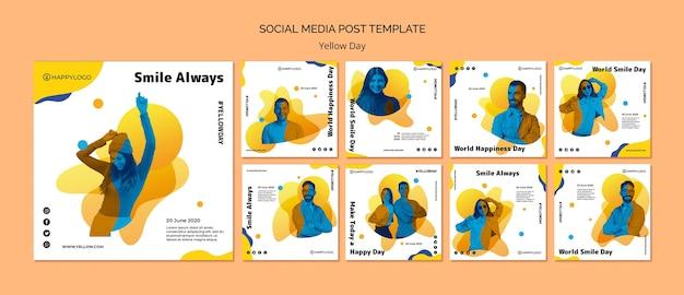 Modelo de postagem de mídia social amarela feliz dia Psd grátis