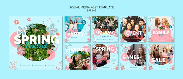 Modelo de postagem de mídia social com tema de primavera Psd grátis