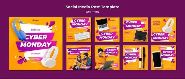 Modelo de postagem de mídia social da cyber monday Psd Premium