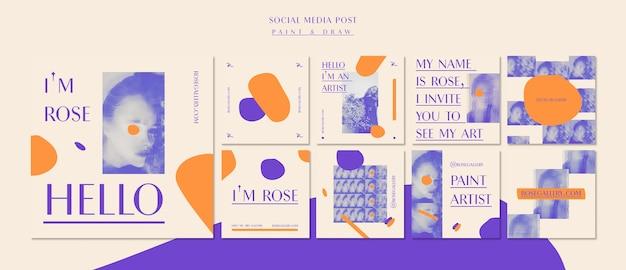 Modelo de postagem de mídia social da galeria do artista Psd grátis