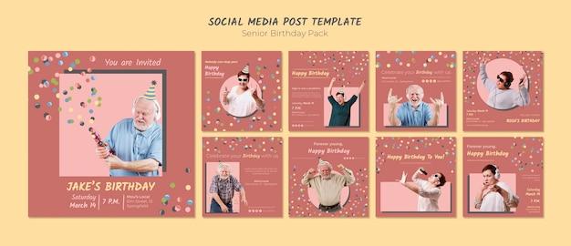 Modelo de postagem de mídia social de aniversário sênior Psd grátis