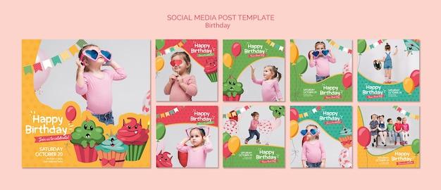 Modelo de postagem de mídia social de aniversário Psd grátis