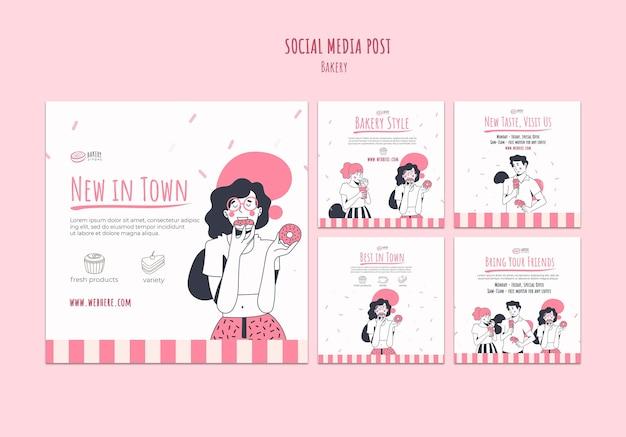 Modelo de postagem de mídia social de anúncio de padaria Psd grátis