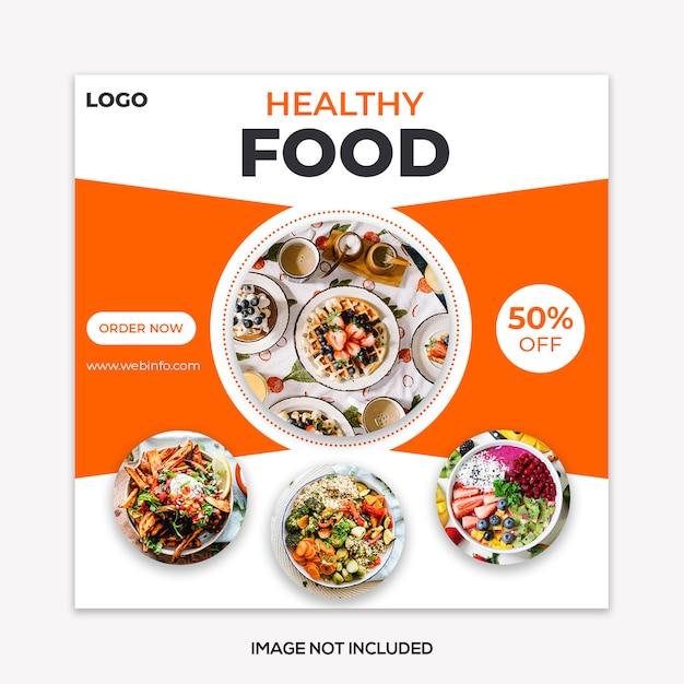 Modelo de postagem de mídia social de banner de comida Psd Premium