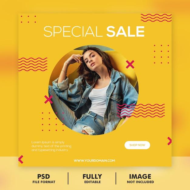 Modelo de postagem de mídia social de banner de moda Psd Premium