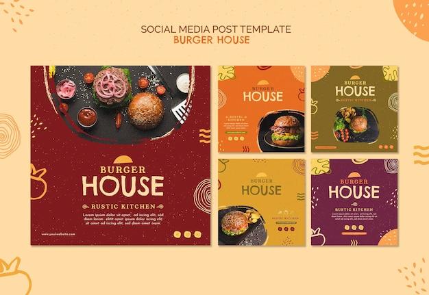 Modelo de postagem de mídia social de burger house Psd Premium