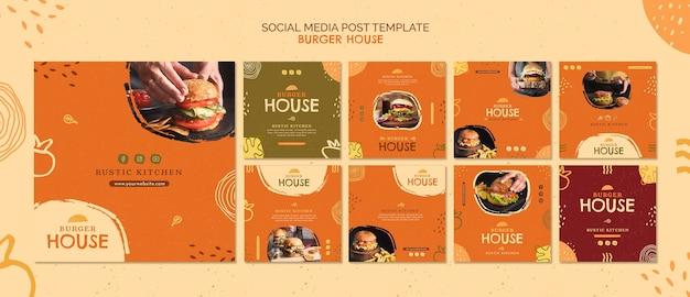 Modelo de postagem de mídia social de burger house Psd grátis