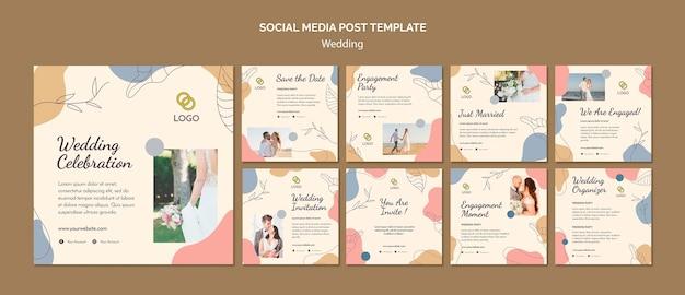 Modelo de postagem de mídia social de casamento Psd grátis
