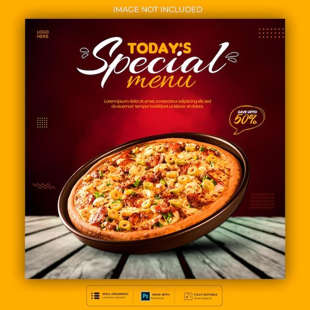Modelo de postagem de mídia social de comida deliciosa psd premium Psd Premium
