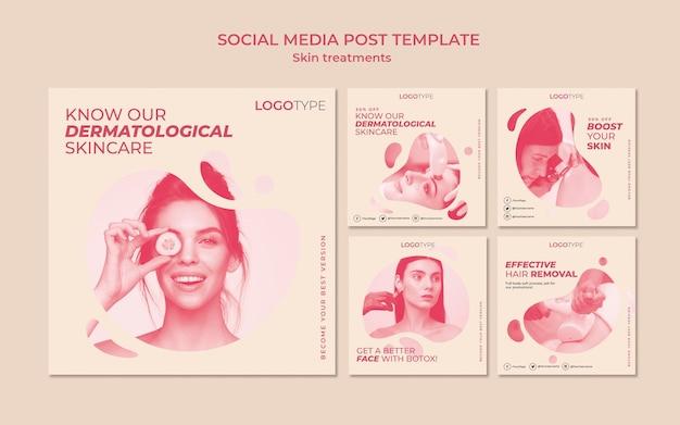 Modelo de postagem de mídia social de conceito de tratamento de pele Psd grátis