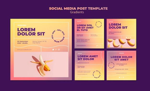 Modelo de postagem de mídia social de design gradiente Psd grátis