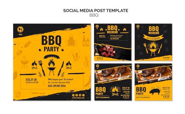 Modelo de postagem de mídia social de festa de churrasco Psd grátis