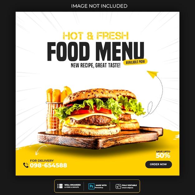 Modelo de postagem de mídia social de menu de restaurante ou comida psd premium Psd Premium
