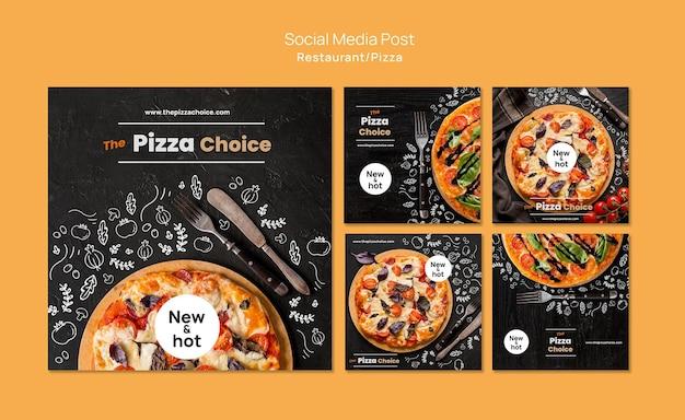 Modelo de postagem de mídia social de pizzaria Psd grátis