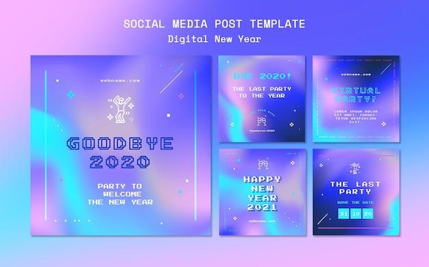 Modelo de postagem de mídia social do conceito de ano novo Psd grátis