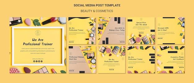 Modelo de postagem de mídia social do conceito de beleza e cosméticos Psd grátis