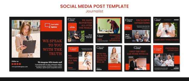 Modelo de postagem de mídia social do conceito de jornalista Psd grátis