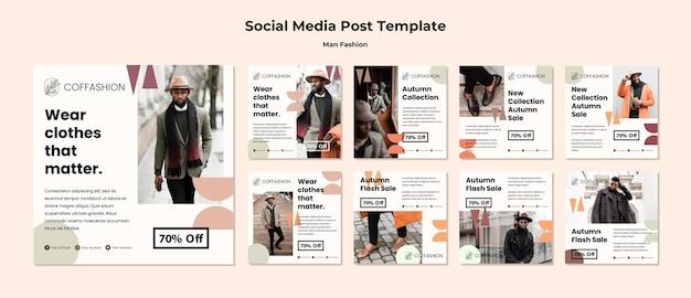Modelo de postagem de mídia social do conceito de moda de homem Psd grátis
