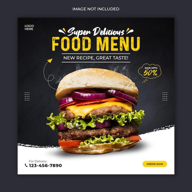 Modelo de postagem de mídia social do delicious burger Psd Premium