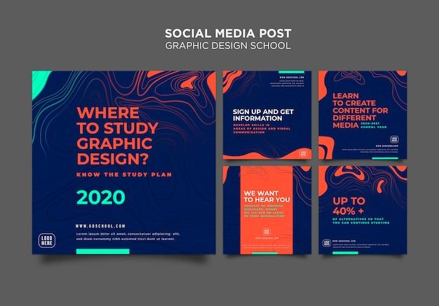 Modelo de postagem de mídia social escolar de design gráfico Psd Premium