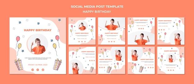 Modelo de postagem de mídia social feliz aniversário Psd grátis