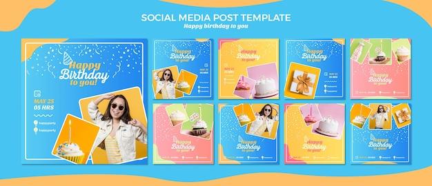 Modelo de postagem de mídia social feliz aniversário Psd Premium