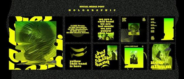 Modelo de postagem de mídia social holográfica Psd Premium