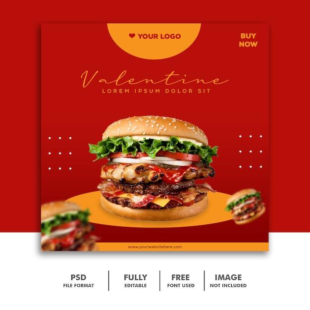 Modelo de postagem de mídia social instagram, burger valentine Psd Premium