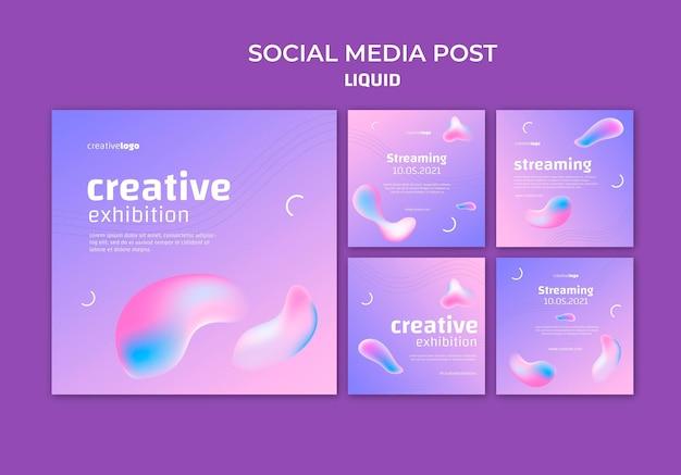 Modelo de postagem de mídia social líquida Psd grátis