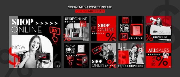 Modelo de postagem de mídia social online de loja de moda Psd grátis